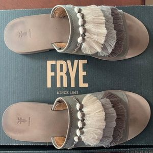 Frye Riley Tassel Slide Leather Sandal